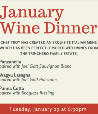 January 29, 2019 Italian Wine Dinner at Almost Home